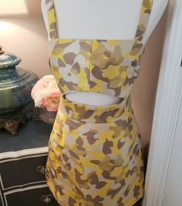 Milly Camo Jacquard Beka Yellow Dress Size S New